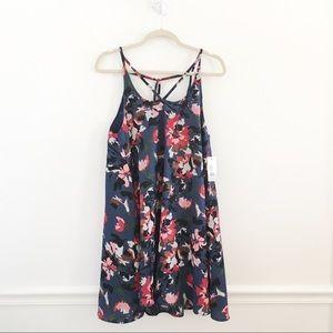 BP Floral Strappy Swing Shift Slip Dress